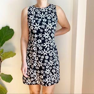 Vtg Mini Dress Floral Print White Black Polyester